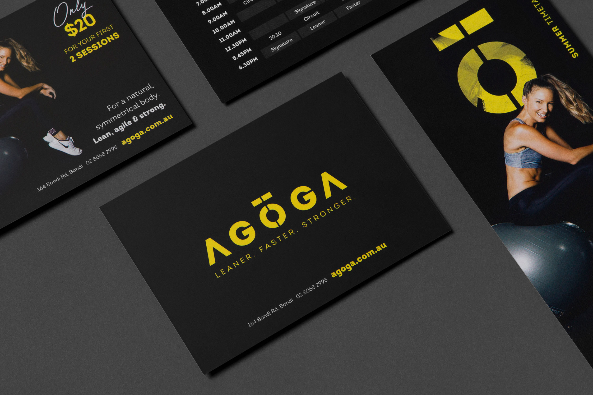 A close-up of a flyer designed for Agoga Bondi, featuring the brand logo on a black background.