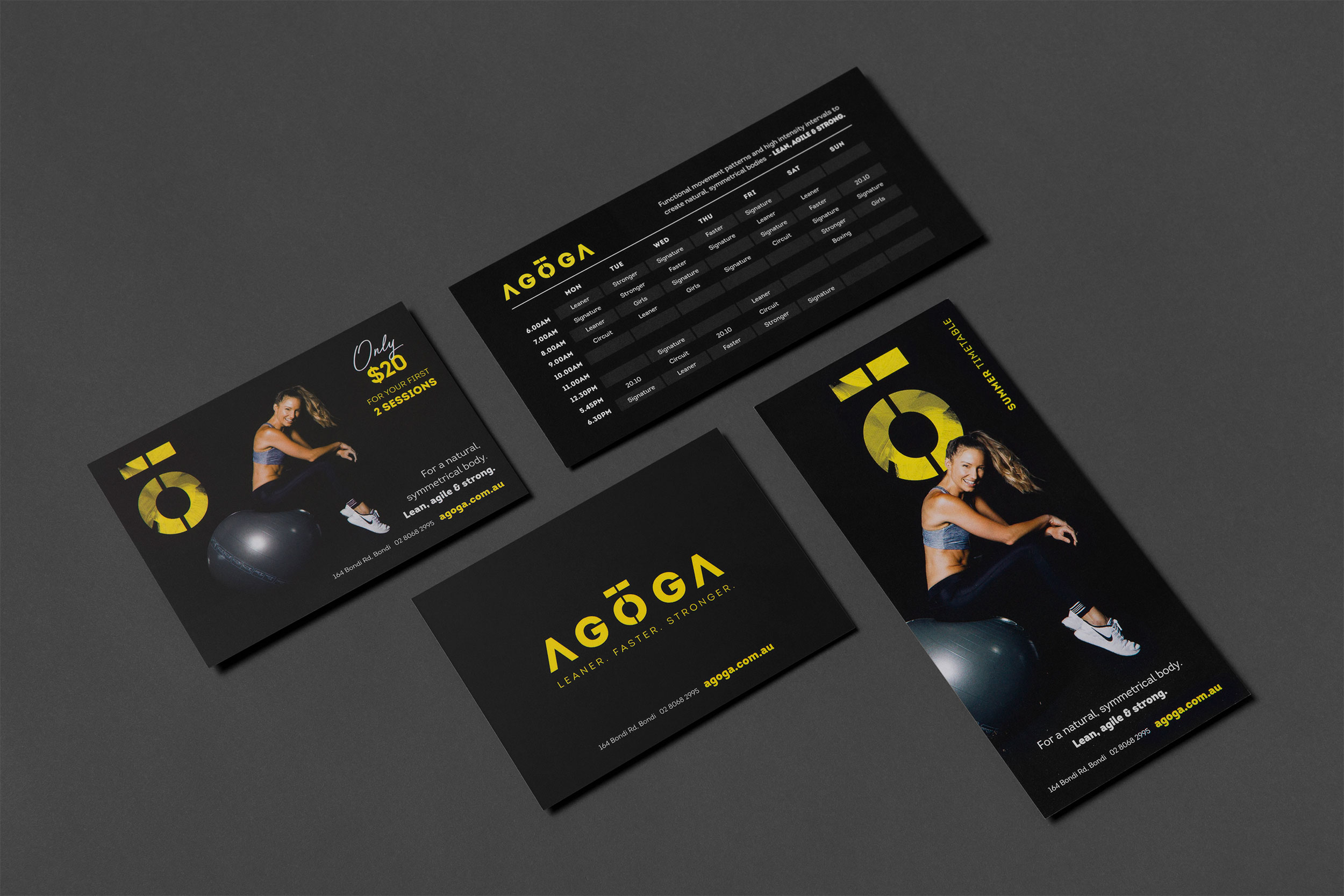 A collection of print media designed for Agoga Bondi including a class timetable and promo flyer
