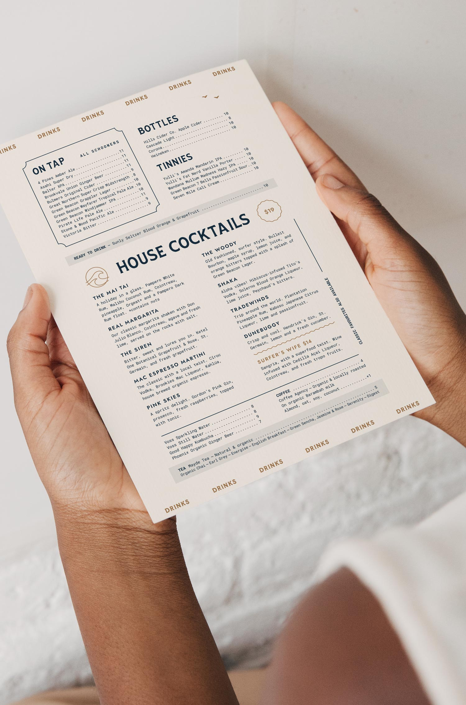 Saltwater Social Club's printed, in-house drinks menu