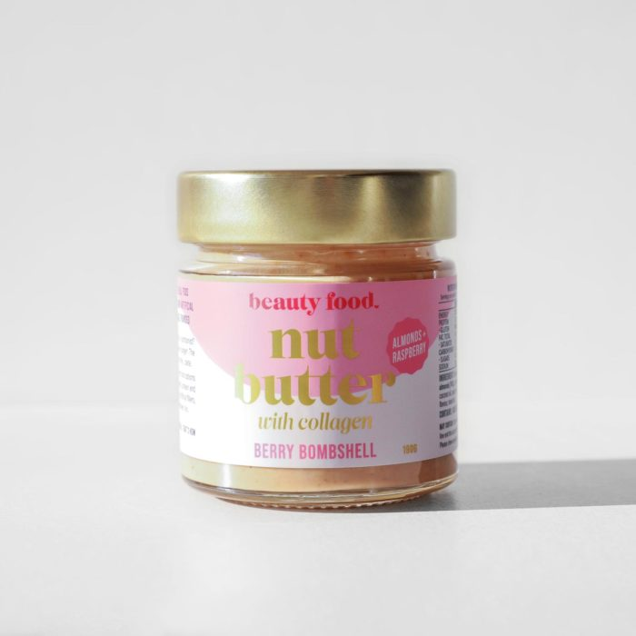 A studio shot of the Beauty Food Berry Bombshell Nut Butter