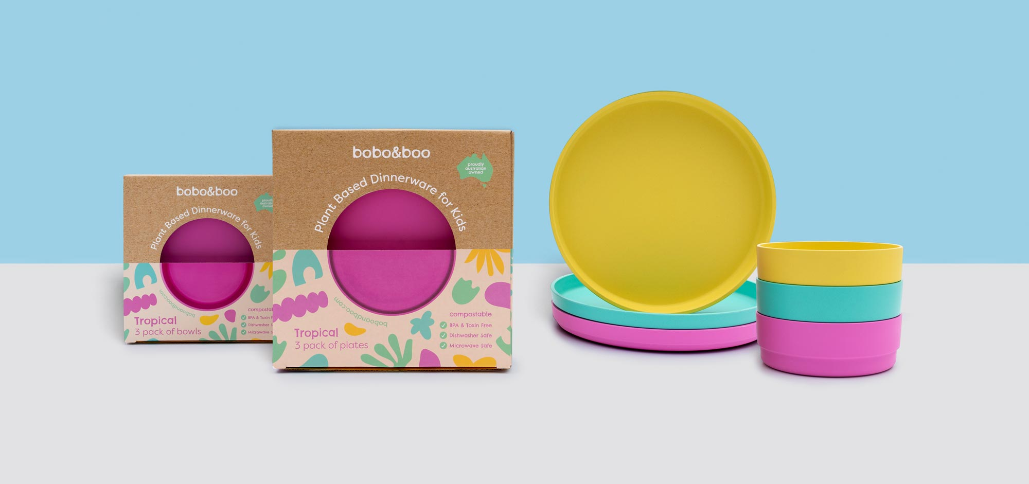 A studio shot of two boxes, and their product, side by side. The product is from Bobo & Boo's plant based range and is the 'Tropical' coloured set.