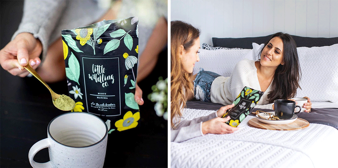 Two images side by side. The left image shows someone spooning some Little Wildling Co matcha tea into a mug of hot water, with the packaging in the background. The right image shows two people lying on a bed, holding the packaging and smiling.