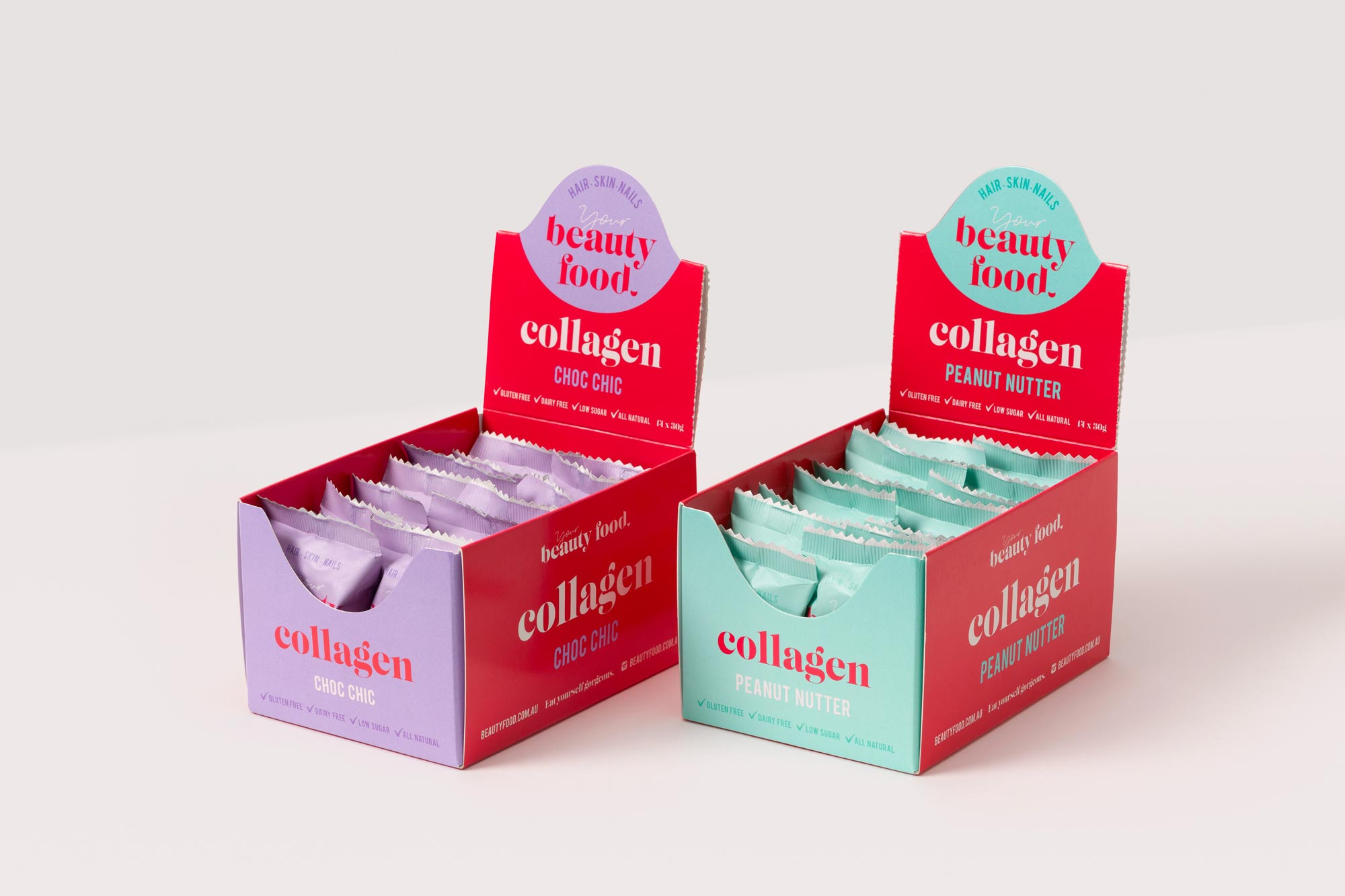 Two POS (point of sale) boxes of Beauty Food collagen cookies sit side-by-side.