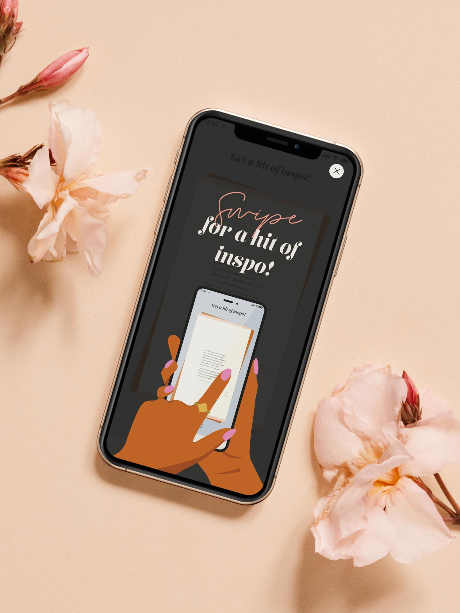 The Heavily Meditated app 'swipe for inspo' screen, displayed on an iphone
