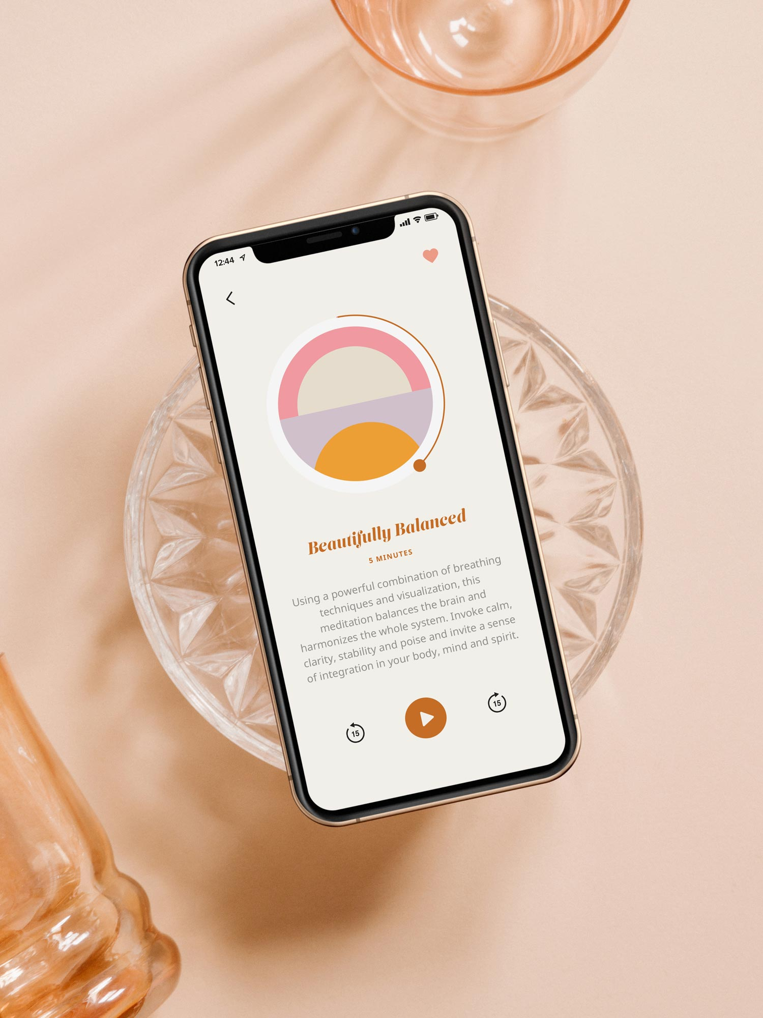 The Heavily Meditated app play screen, displayed on an iphone