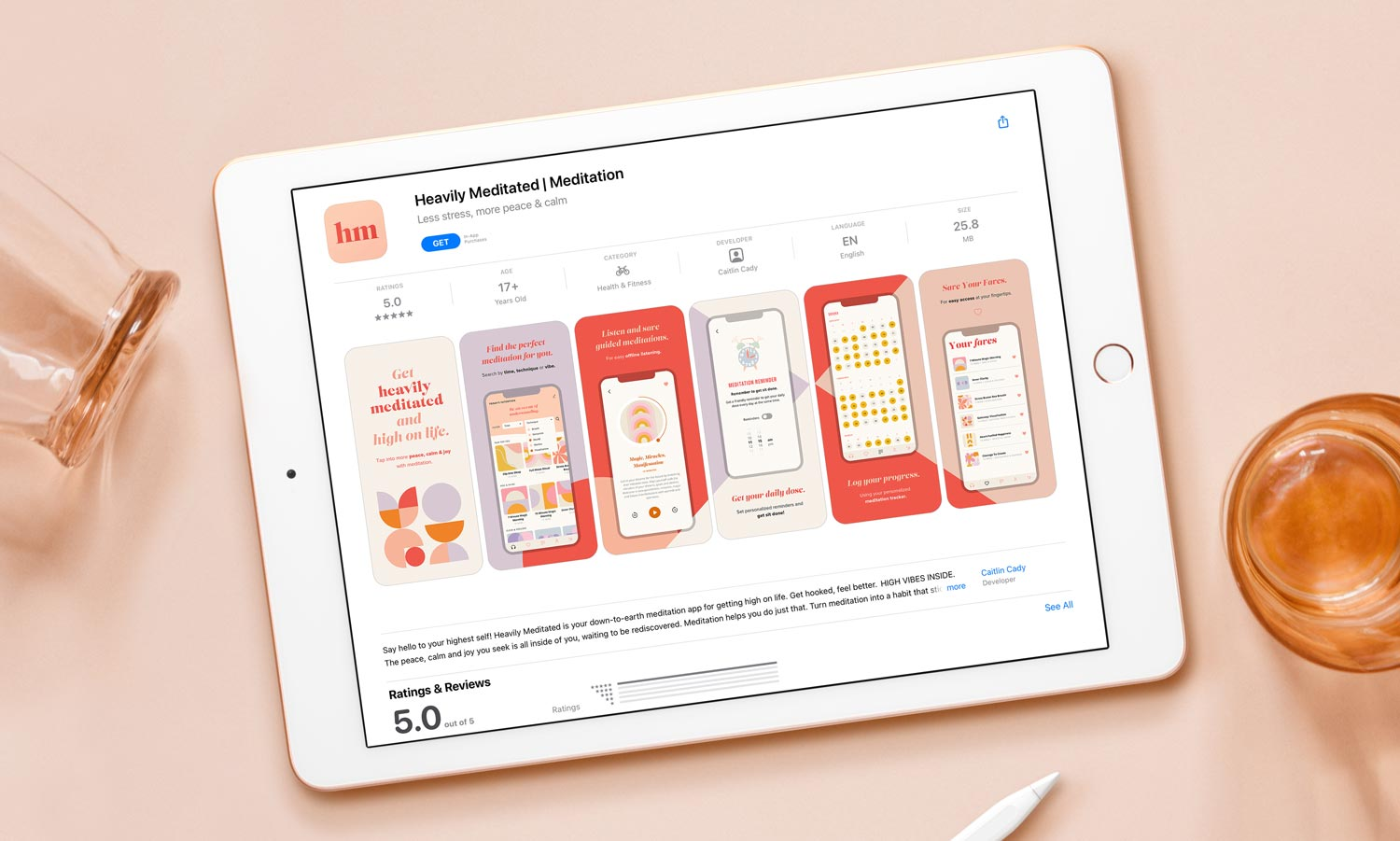 The Heavily Meditated app preview screen, as shown in the App Store, displayed on an ipad