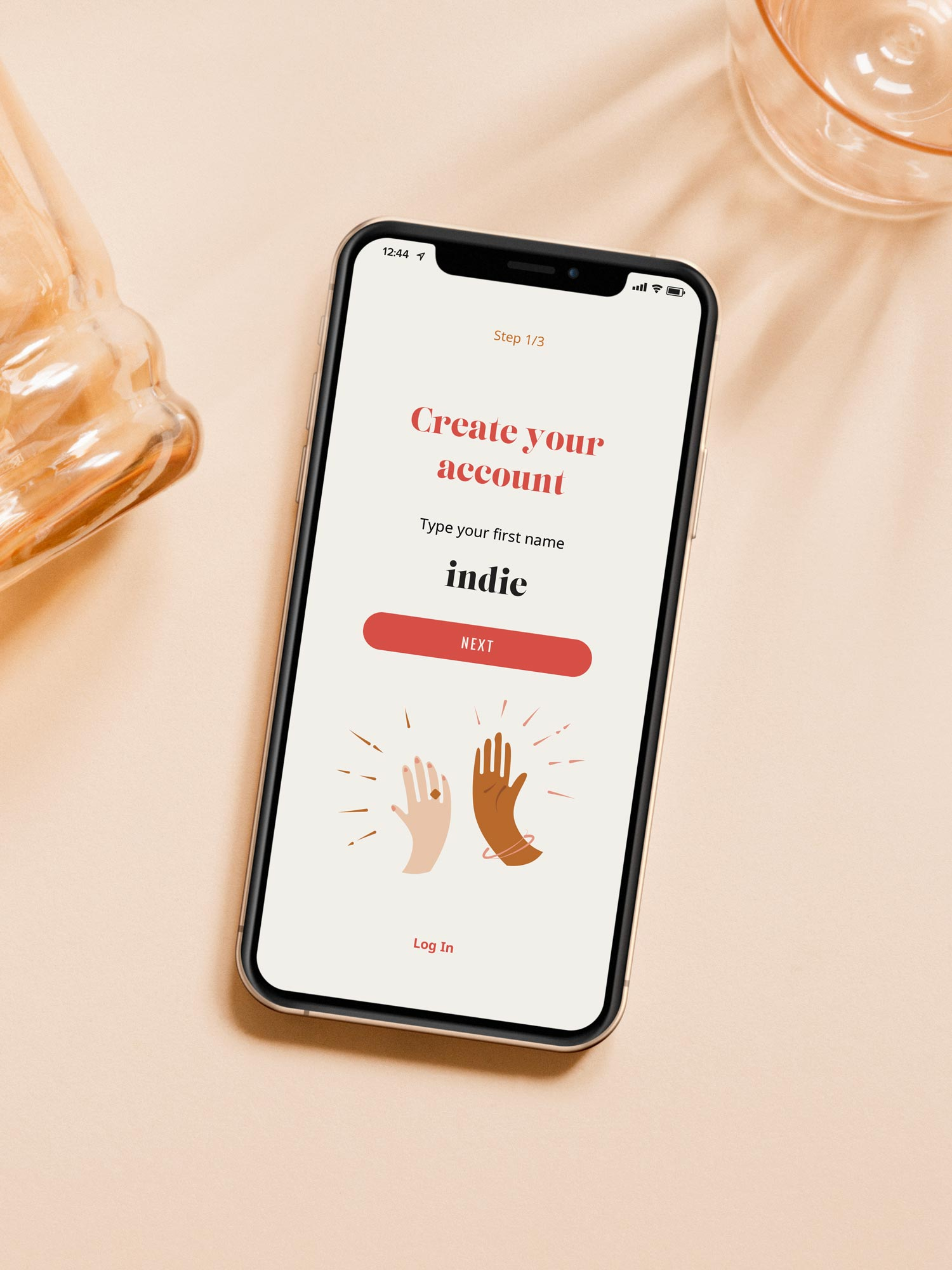 The Heavily Meditated app sign up screen, displayed on an iphone