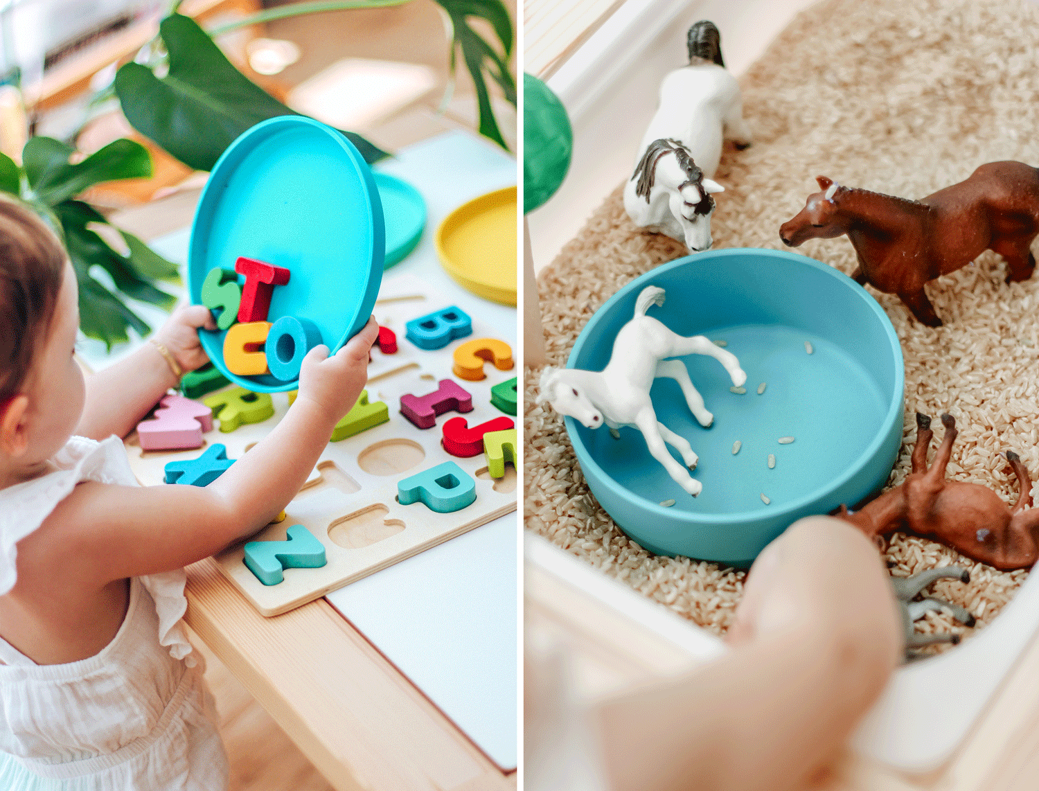 Two images of children engaged in sensory play, using Bobo & Boo products
