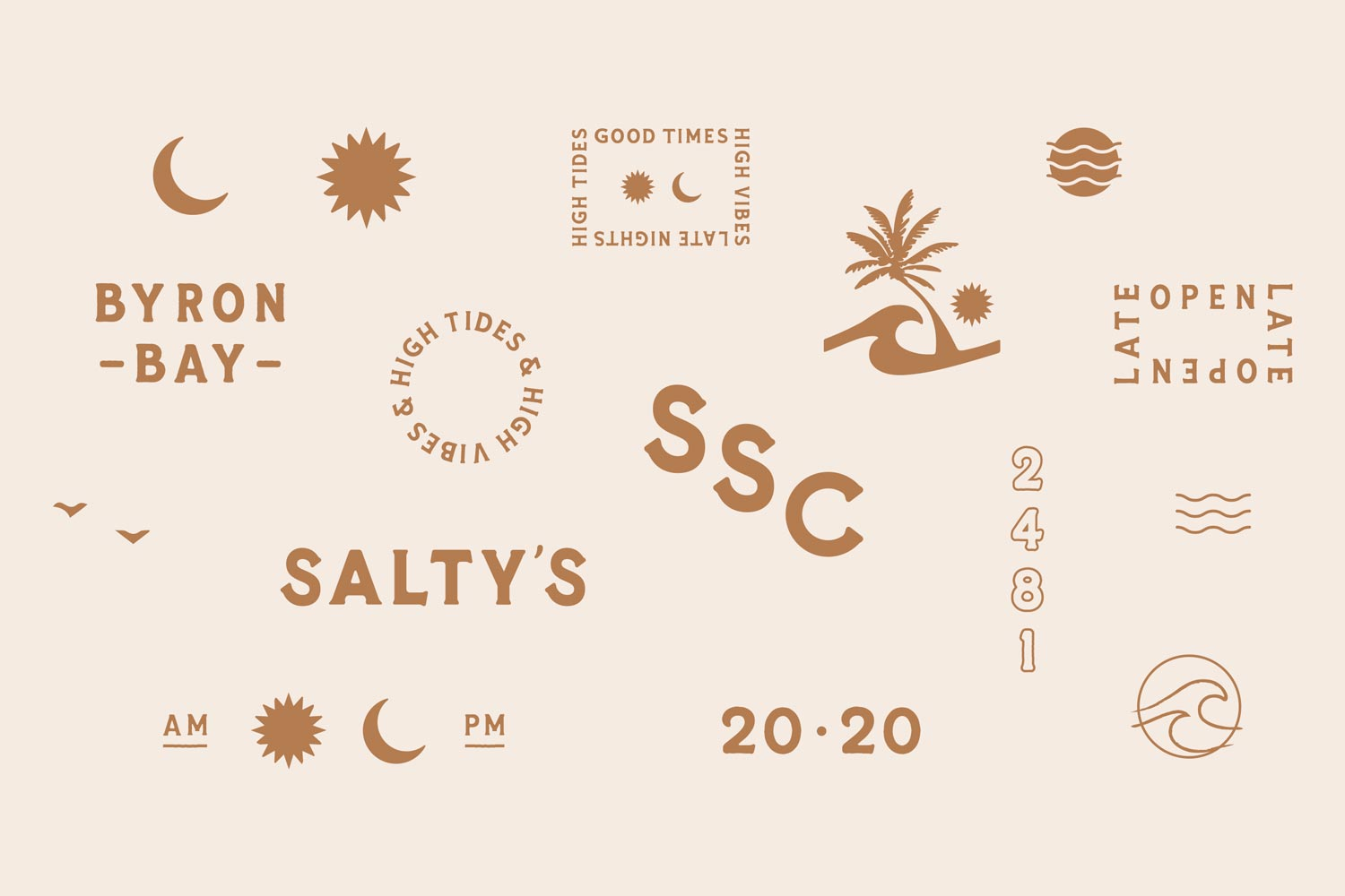 A suite of graphic elements designed as part of Saltwater Social Club's greater visual identity