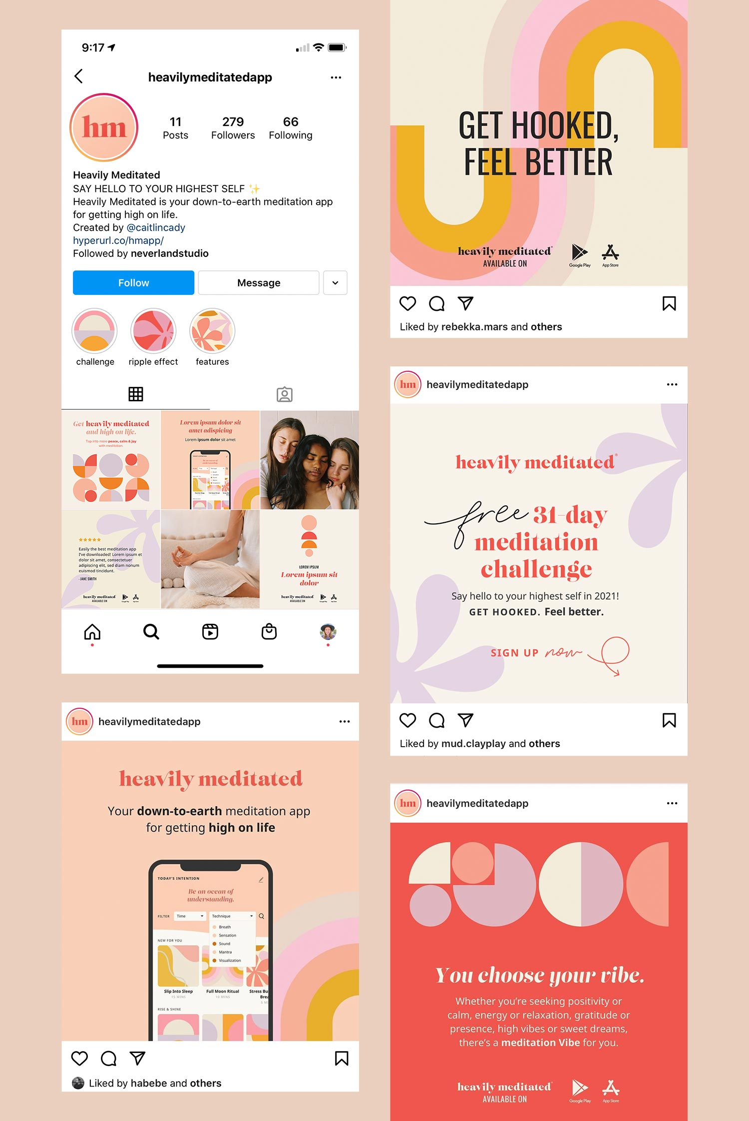 Social templates designed for Heavily Meditated's Instagram feed