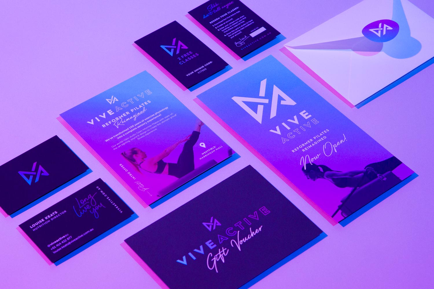 Print media design for Vive Active, including business cards, stationary and print marketing tools.